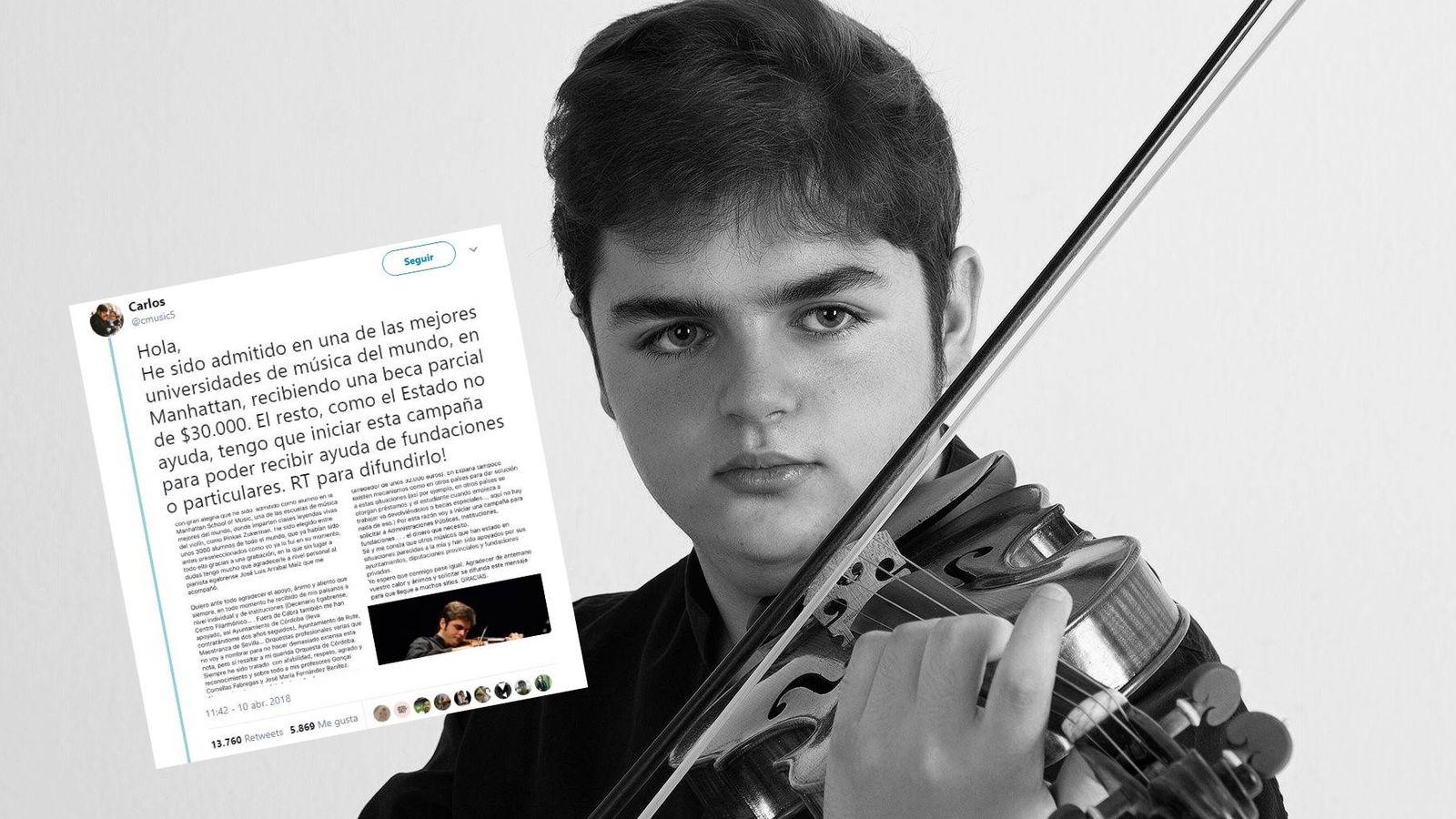 Foto: El joven violinista ha puesto en marcha un 'crowdfunding' para financiar sus estudios. (MJ Carmona)