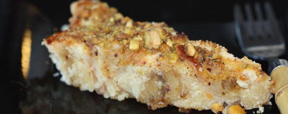 Foto: Un postre de lujo: tarta de manzana y pistachos