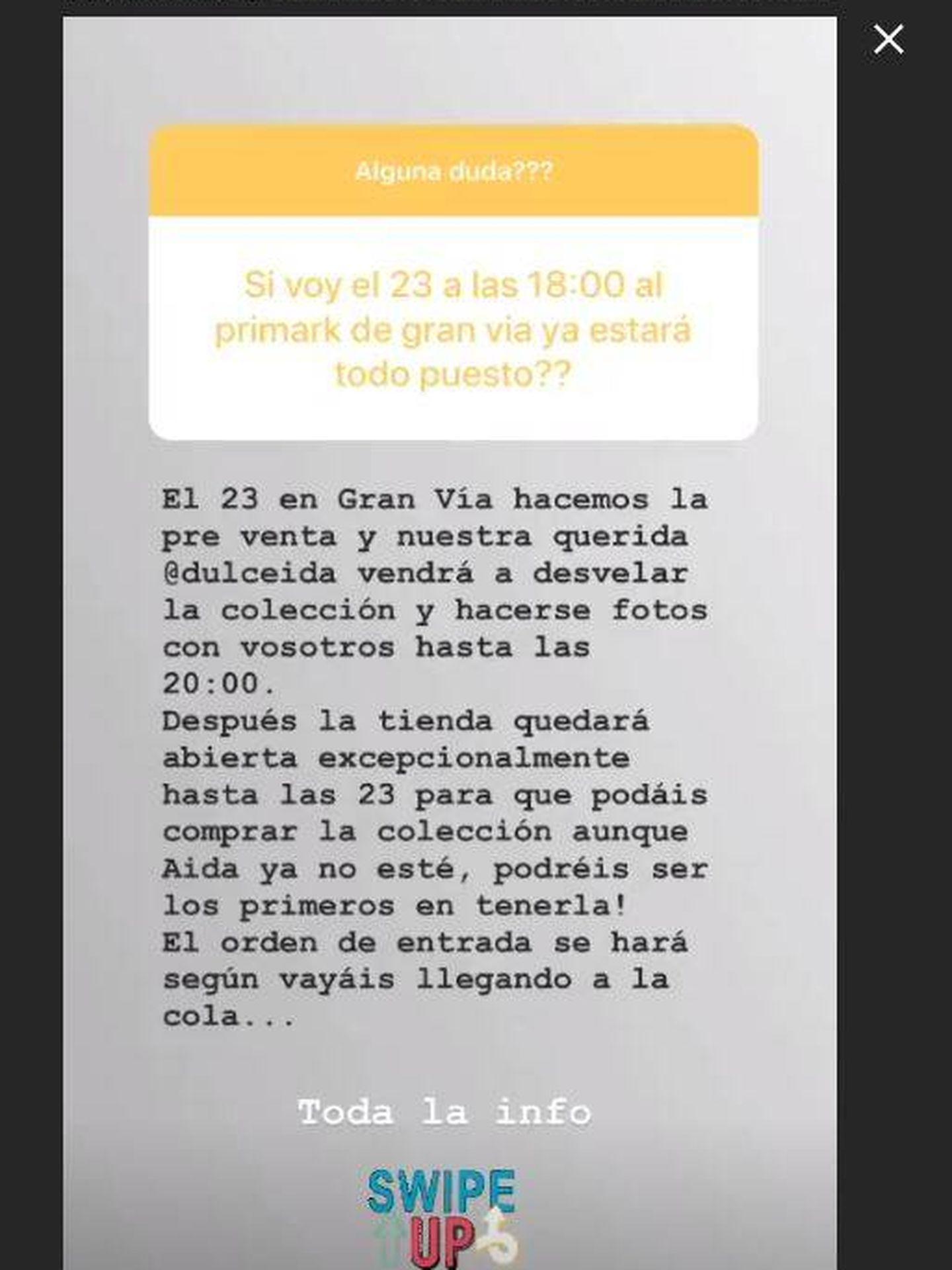 Stories de Instagram de @primarkpr.es.