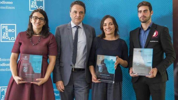 Foto: Los premiados: Ana S.Juárez (Vanitatis), Jesús Ortiz (alcalde de Torremolinos), Pepa Bueno (Hoy por Hoy) y el árbitro Jesús Tomillero.