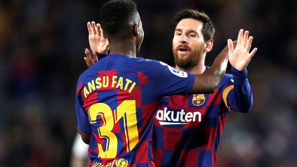 Foto: Ansu Fati y Messi durante la temporada pasada. (EFE)