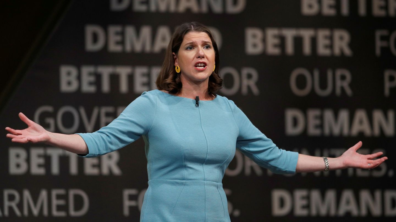 La líder de los Liberaldemócratas, Jo Swinson, en un momento del congreso anual del partido. (Reuters)