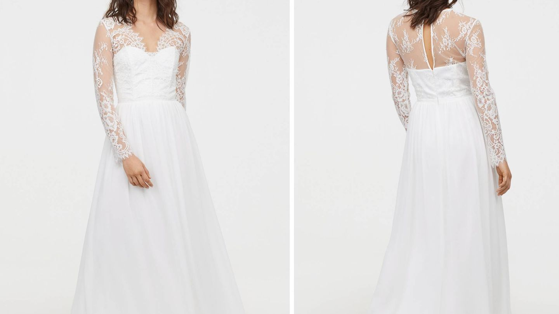 Vestido de novia de la colección nupcial que lanzó H&M. (Cortesía)