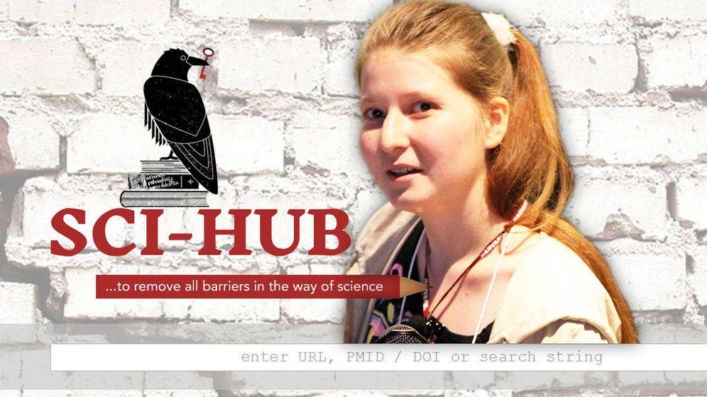 Foto: Alexandra Elbakyan junto al logo de Sci-Hub. (EC)