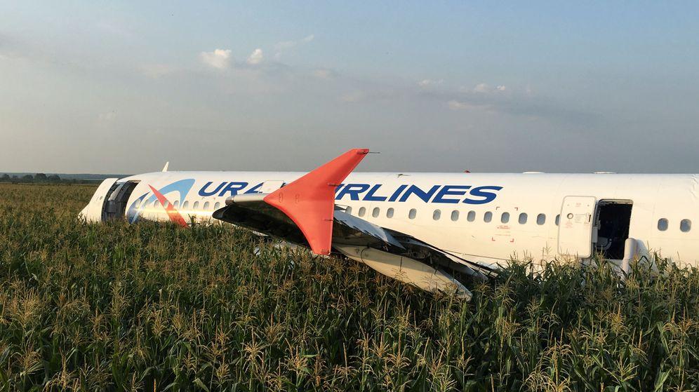 Foto: El Airbus accidentado, tras aterrizar en un maizal. (Reuters)