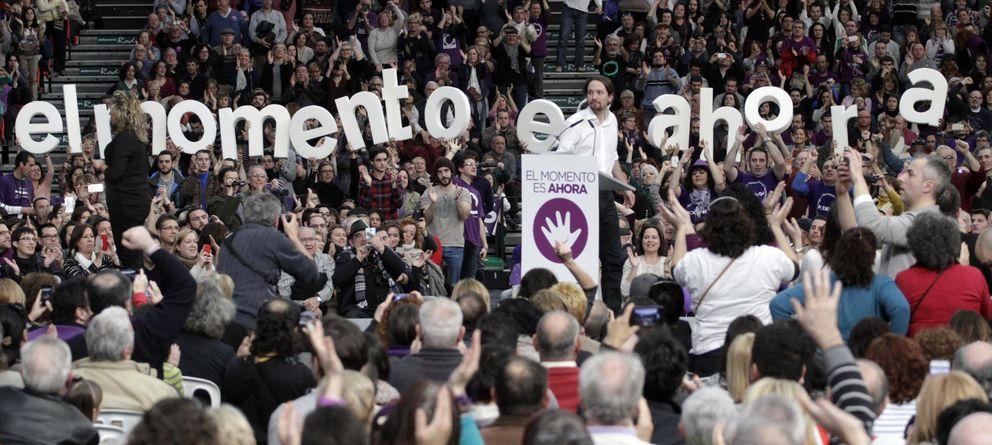 Foto: Pablo Iglesias, líder de Podemos, durante su mitin en Valencia (EFE)