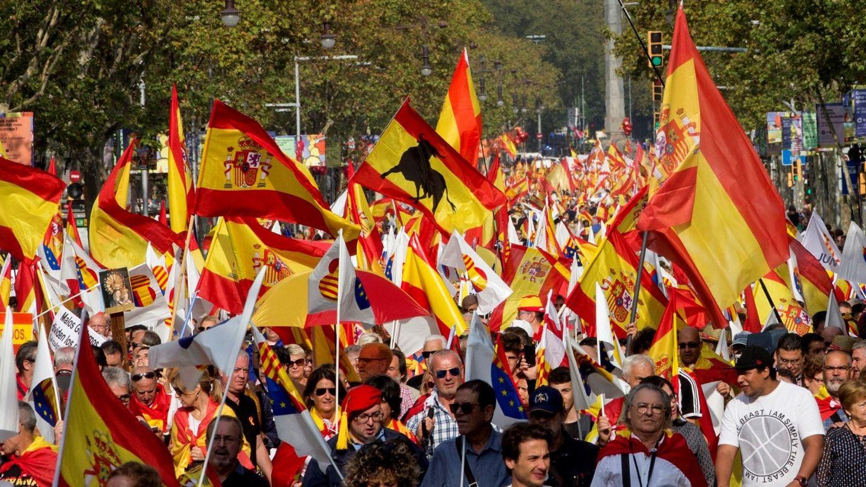 Manifestación en Barcelona el pasado Día de la Hispanidad. (EFE)