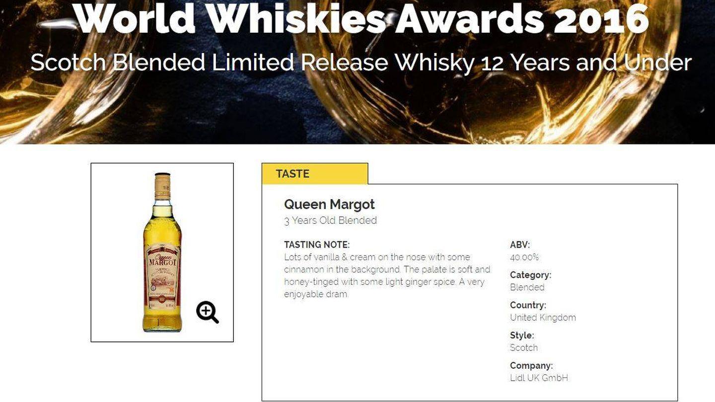El Queen Margot es el whisky que ganó el premio a mejor Scotch mezclado en 2016.