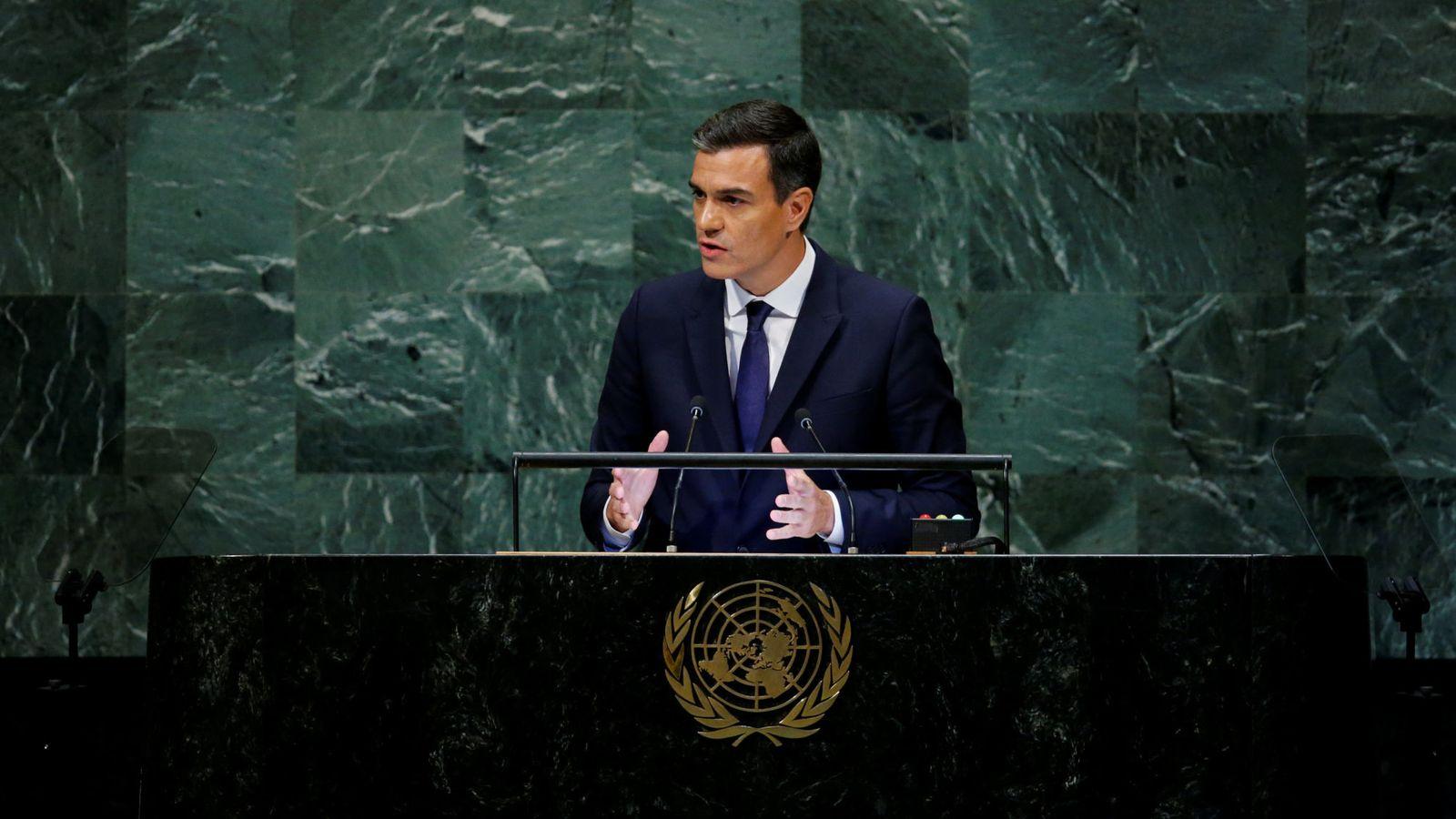 Foto: Pedro Sánchez, durante su intervención ante la Asamblea General de Naciones Unidas, este 27 de septiembre. (Reuters)