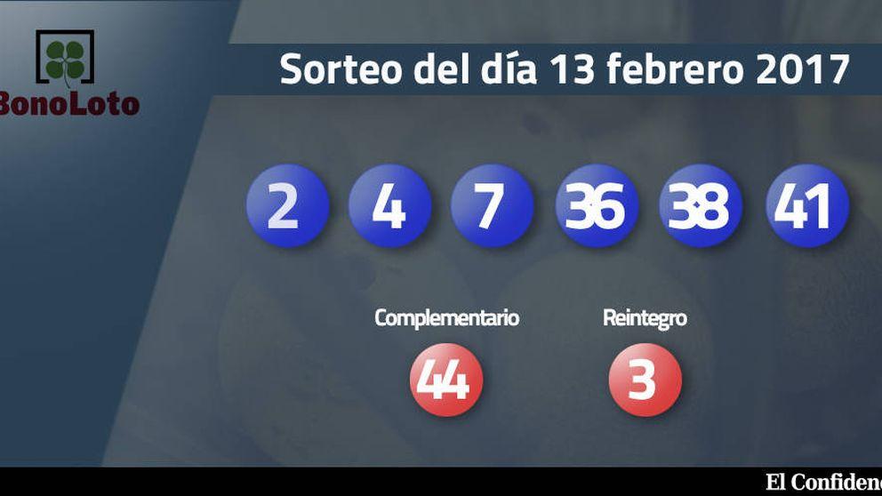 Resultados del sorteo de la Bonoloto del 13 febrero 2017: números 2, 4, 7, 36, 38, 41