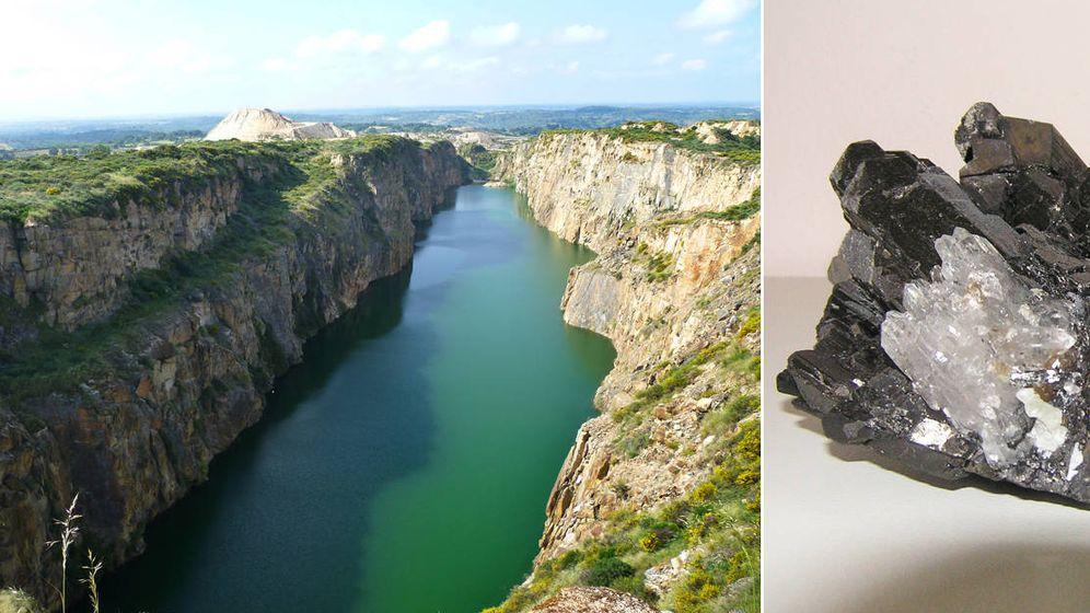 Foto: Mina de Barruecopardo (i) y una piedra con mineral de wolframio (d).
