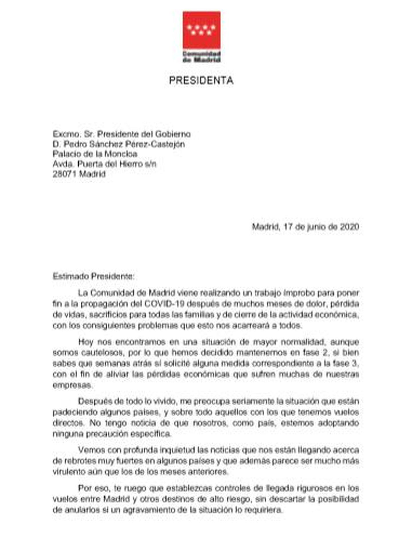 Pinche para leer la carta de Díaz Ayuso.