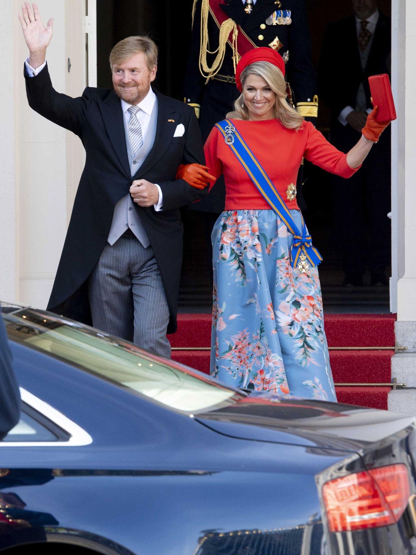 Los reyes dejando el palacio de Noordeinde. (Efe)