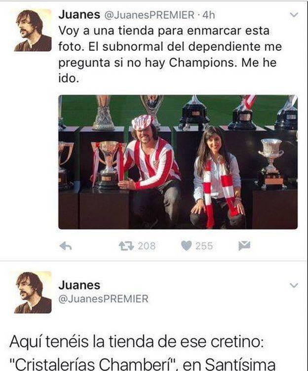 Foto: El mensaje original de Juanes. (Foto: Twitter)
