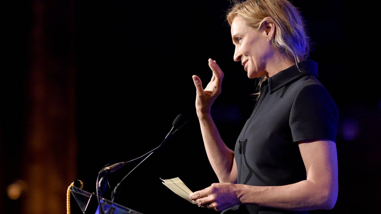 Uma Thurman, dando un discurso. (Getty)