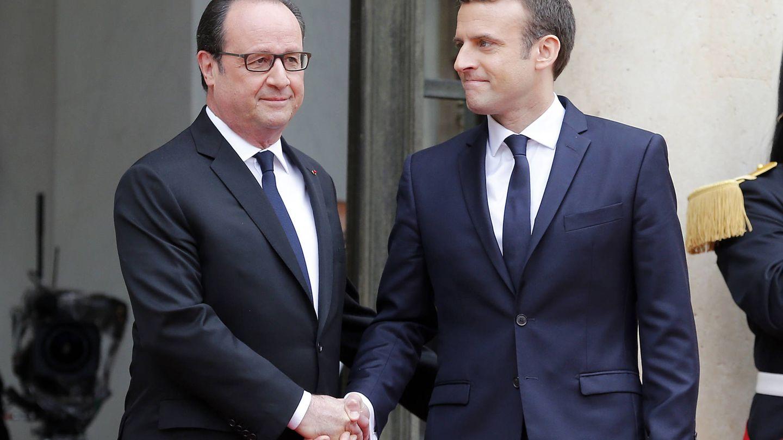 Hollande y Macron, en 2017. (Getty)