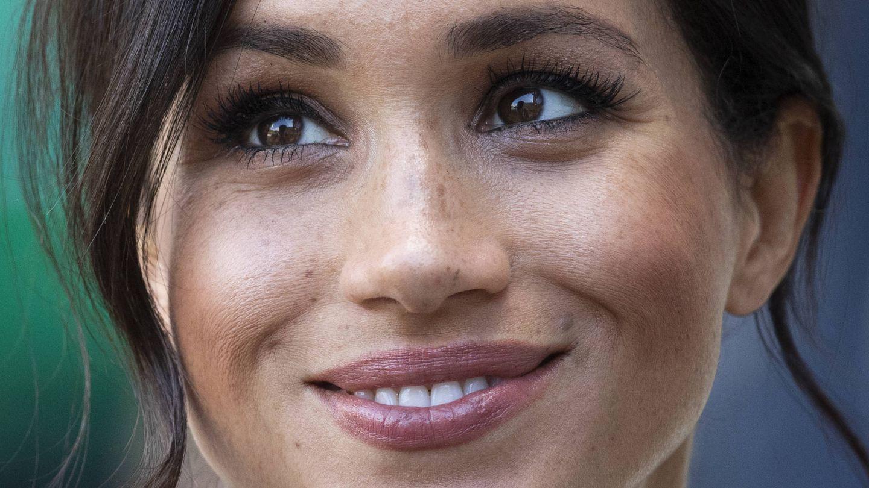 Meghan Markle, con un labial algo más rosado en su etapa más romántica. (Getty)