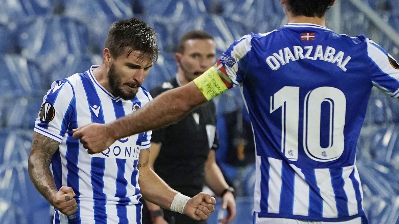 Portu celebra un gol en la Europa League. (Reuters)