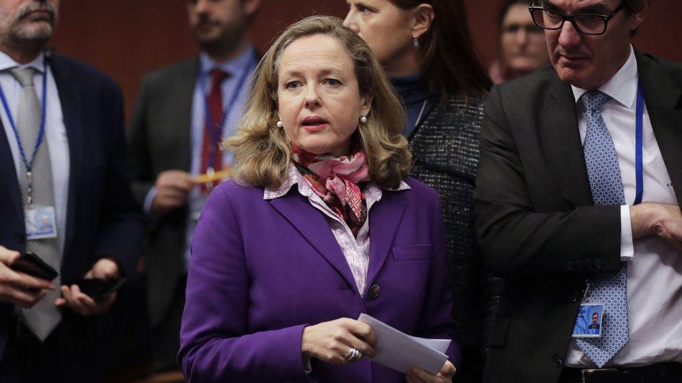 Foto: Nadia Calviño durante un Eurogrupo en febrero. (EFE)