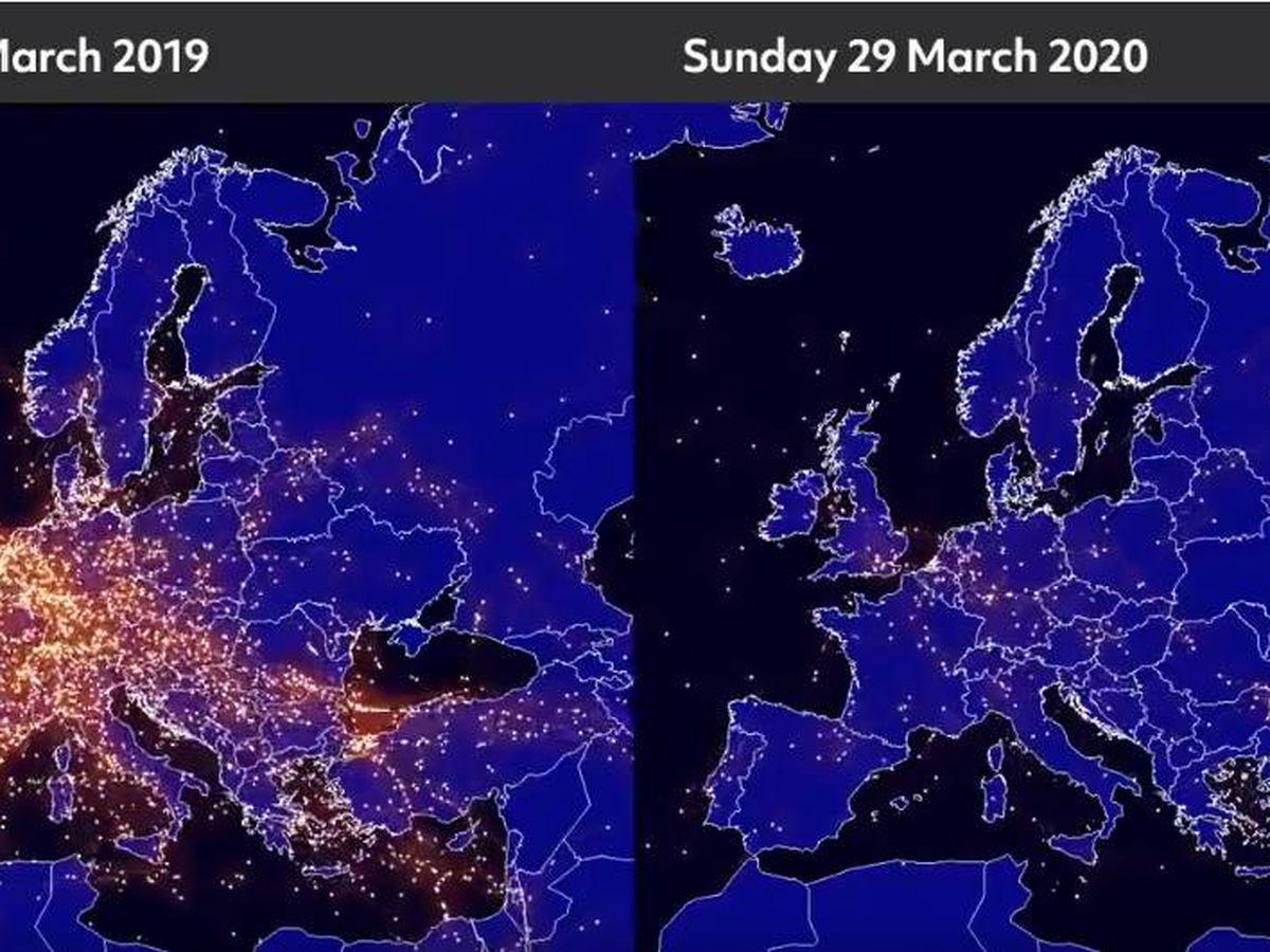 Foto: Diferencias en el tráfico aéreo. Foto: Eurocontrol
