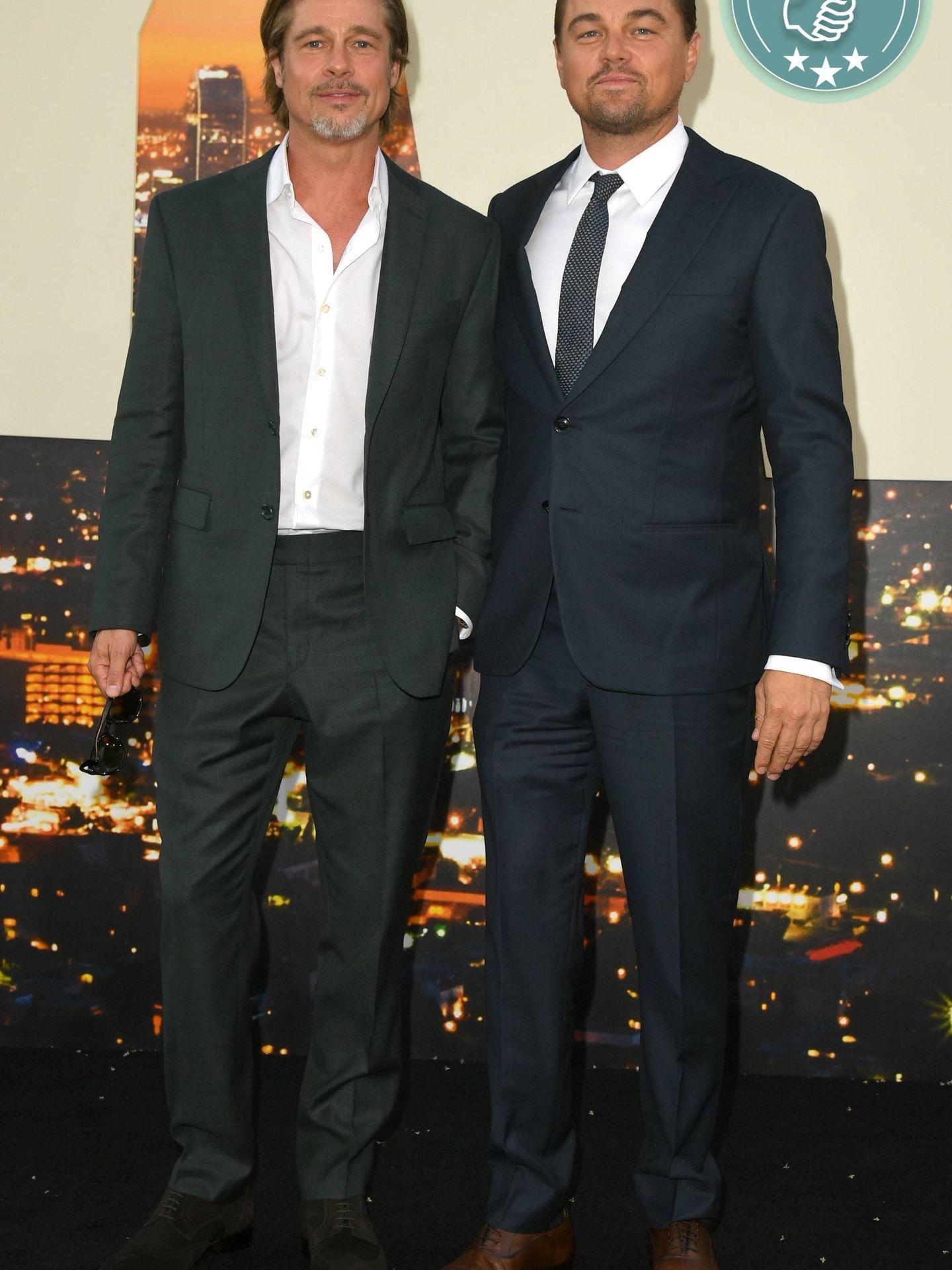 Brad Pitt y Leonardo DiCaprio en la première de 'Once Upon a Time in Hollywood'. (Getty)