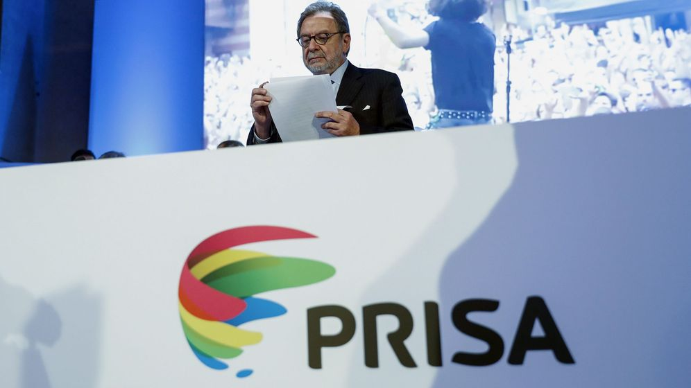 Foto: El presidente de Prisa, Juan Luis Cebrián, durante la junta general de accionistas. (EFE)