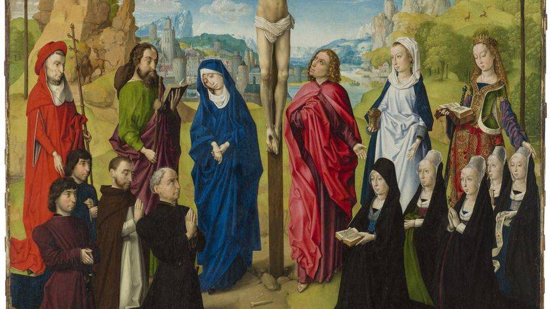 'Calvario con santos y donantes', del círculo de Hugo van der Goes.