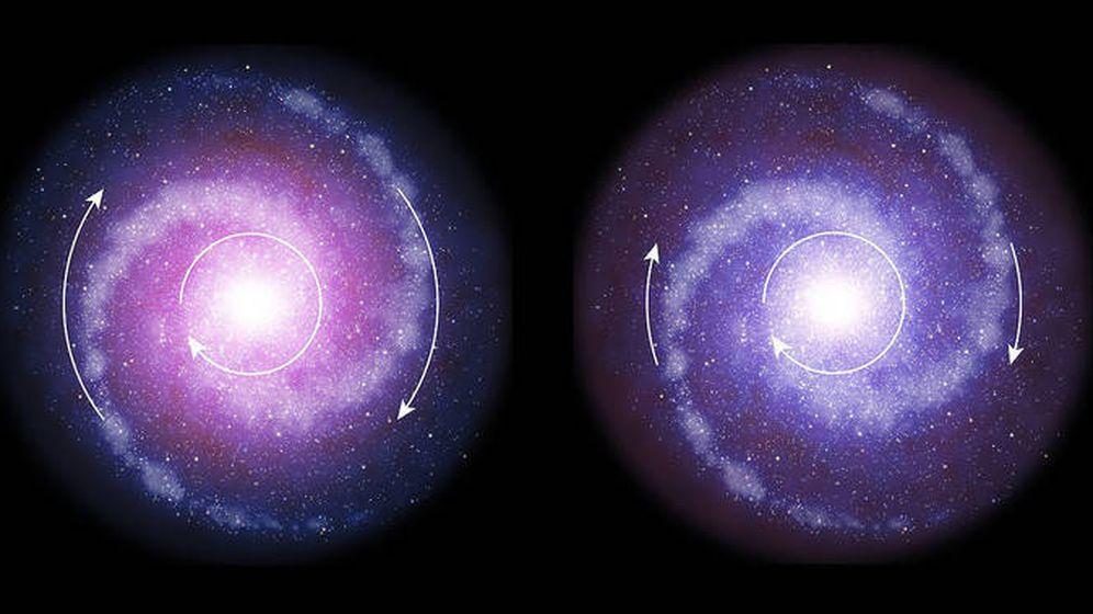 Foto: Comparación del disco de rotación de las galaxias en el universo distante (derecha) y en el universo actual (izquierda), donde la materia oscura (en tonos rojizos) está más concentrada. Como resultado, las partes exteriores de las galaxias distantes gira