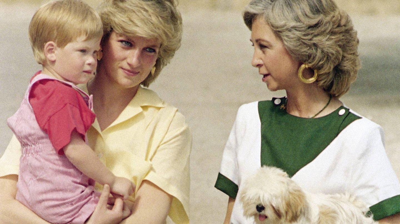 La reina Sofía y la princesa Diana con Harry. (Gtres)