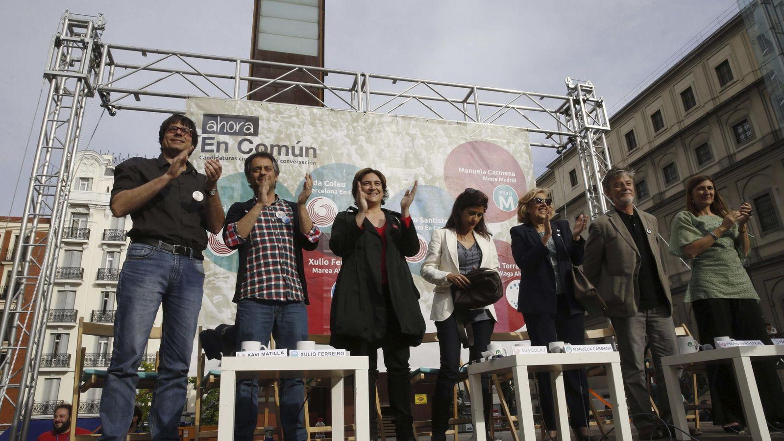 Foto: Acto de precampaña de los líderes de Terrassa en Comú, Marea Atlántica, Barcelona en Comú, Ahora Madrid, Zaragoza en Común y Málaga Ahora. (EFE)