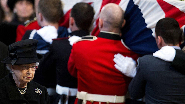 Isabel II, en el funeral de Margaret Thatcher en abril de 2013. (Getty)