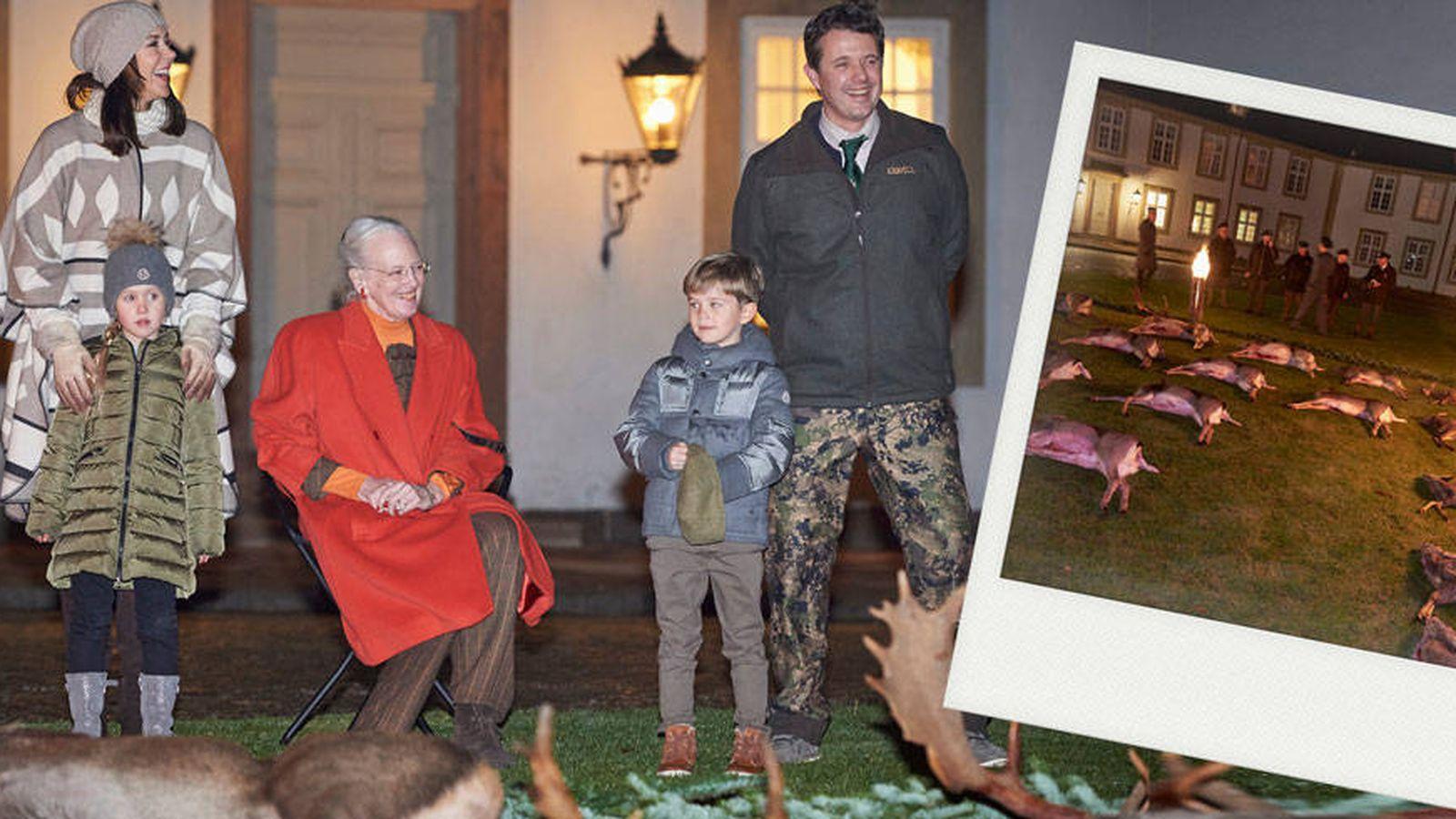 Foto: La familia real de Dinamarca y el venado en un montaje realizado por Vanitatis