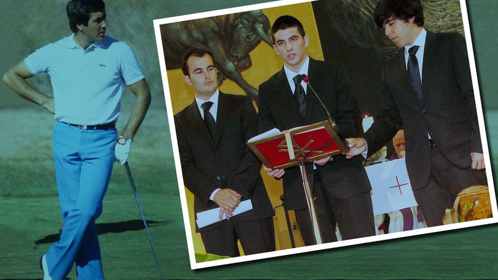 Foto: Severiano Ballesteros y sus tres hijos (Fotomontaje de Vanitatis)