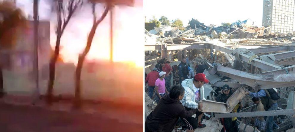 Foto: Explosión en el hospital y momentos posteriores (YouTube/EFE)
