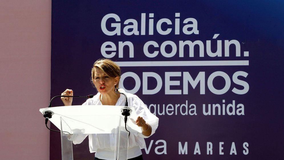 Foto: La ministra de Trabajo, Yolanda Díaz, en un mitin en Ferrol. (EFE)