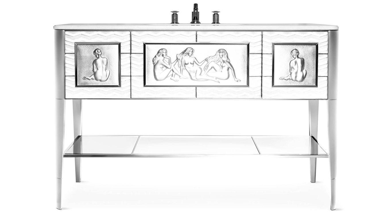 Foto: Lavabo 'Causeuses Vanity' en cristal incoloro, níquel brillante y mármol, con grifería de cristal y níquel brillante. De 'Pierre-Yves Rochon & Lalique'.