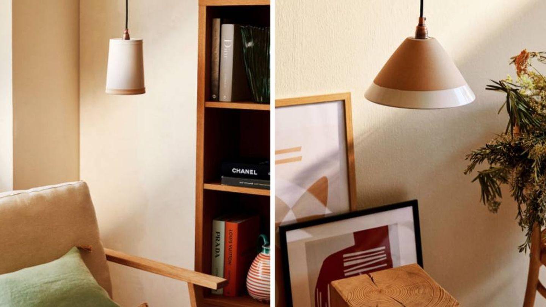 Lámpara de techo de cerámica de Zara Home. (Cortesía)