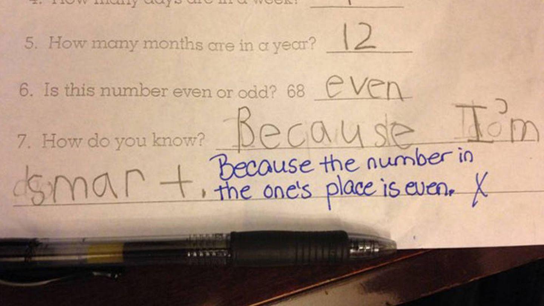 ¿68 es par o impar? 'Par'. ¿Por qué lo sabes? 'Porque soy lista'. (Imgur)