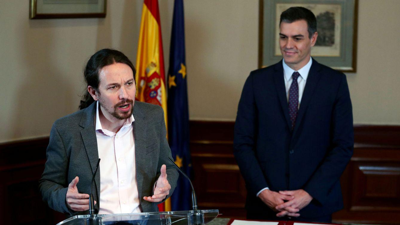 Foto: El líder de Unidas Podemos, Pablo Iglesias, tras la firma del preacuerdo con Pedro Sánchez (Reuters).