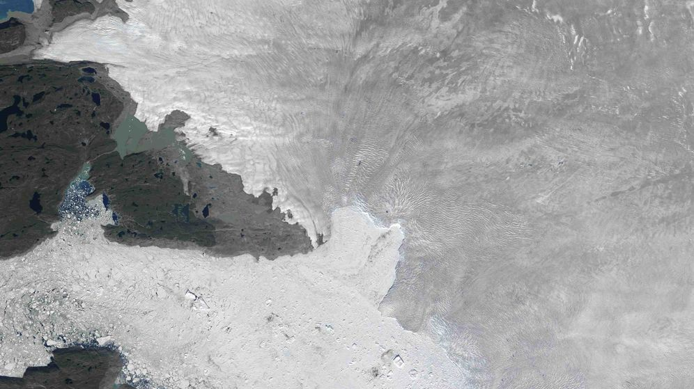 Foto: El glaciar Jakobshavn, en una imagen por satélite de la NASA