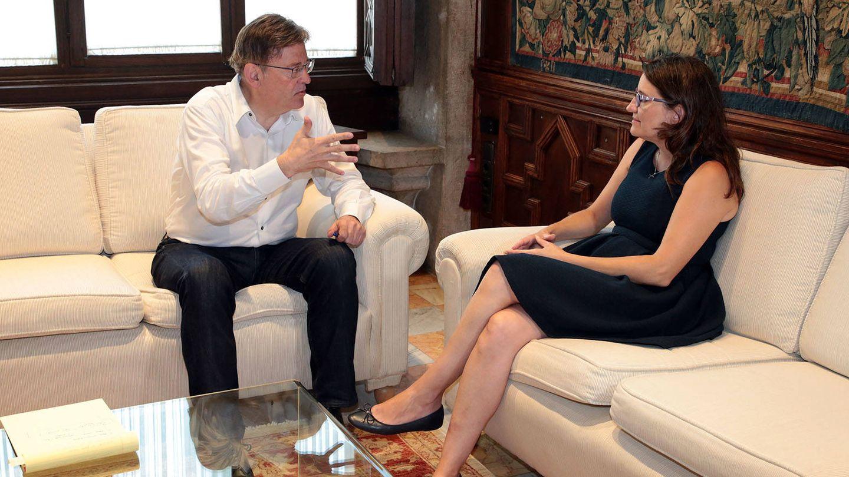Ximo Puig y Mónica Oltra, en el encuentro que mantuvieron el miércoles. (GVA)