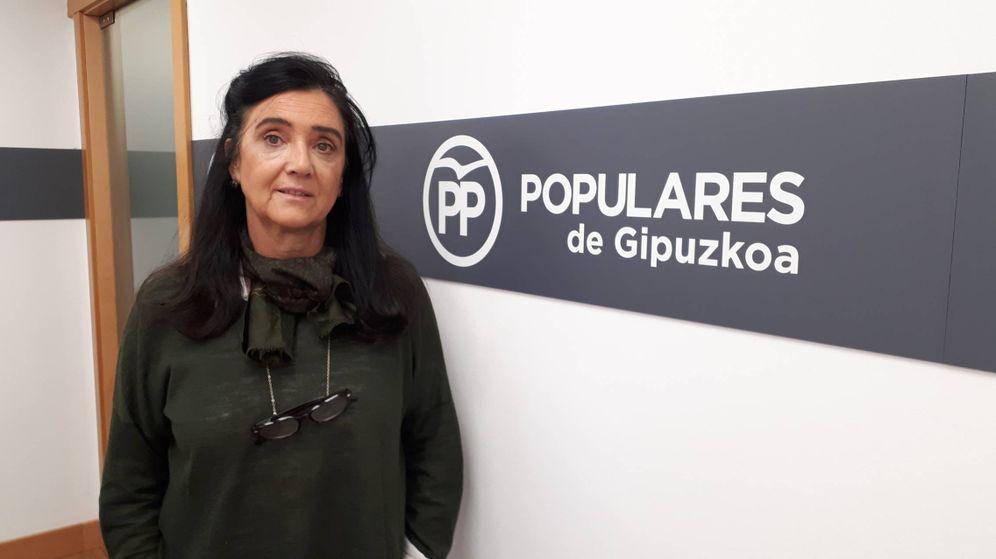 Foto: Asun Guerra, en la sede del PP de Guipúzcoa de San Sebastián. (J.M.A.)