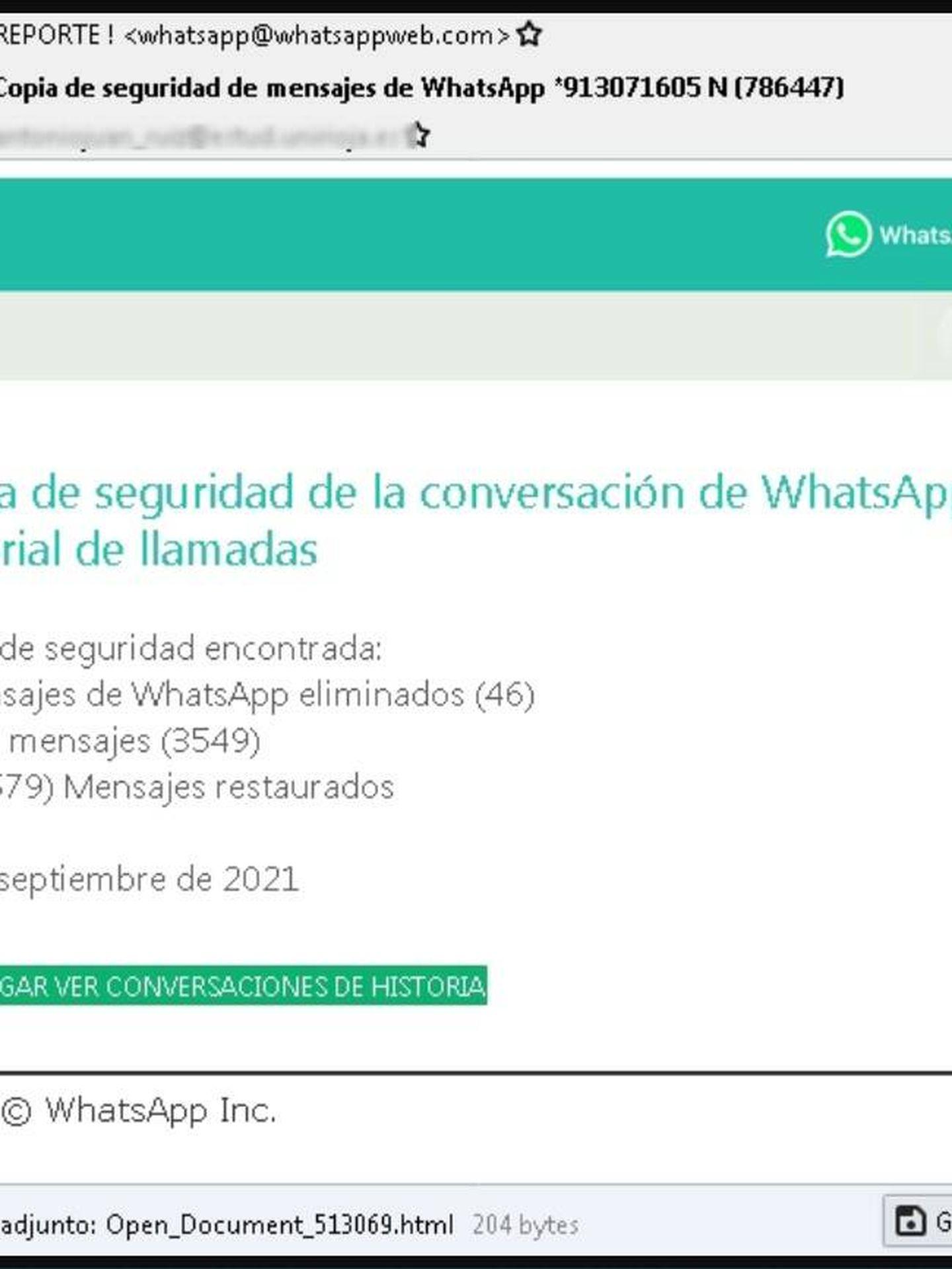 Correo fraudulento haciéndose pasar por WhatsApp. (OSI)