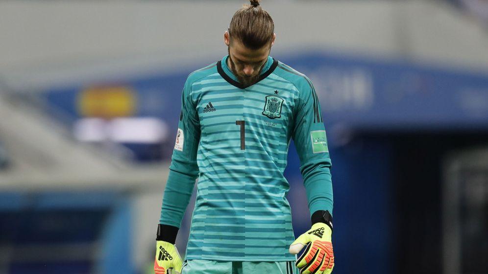 Foto: David de Gea se muestra contrariado tras encajar un gol ante Portugal. (EFE)