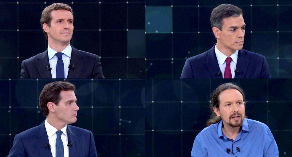 Foto: Pablo Casado, Pedro Sánchez, Albert Rivera y Pablo Iglesias, durante el debate en RTVE del pasado 22 de abril. (Reuters)
