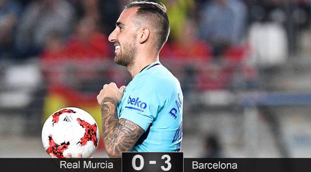 Foto: Paco Alcácer abrió el marcador en Murcia. (Cordon Press)