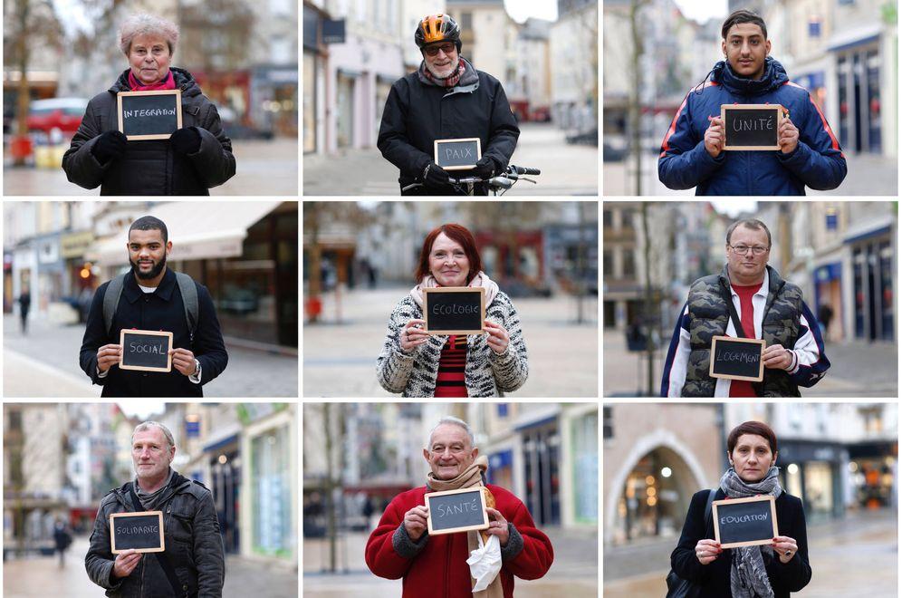 Foto: Votantes franceses muestran cuál es, en su opinión, la cuestión más importante en las elecciones