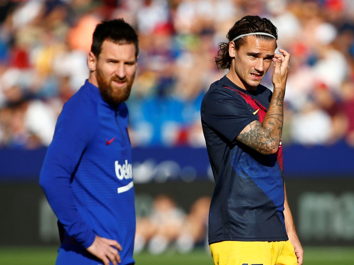 Foto: Griezmann y Leo Messi antes de un partido ante el Levante. (Reuters)