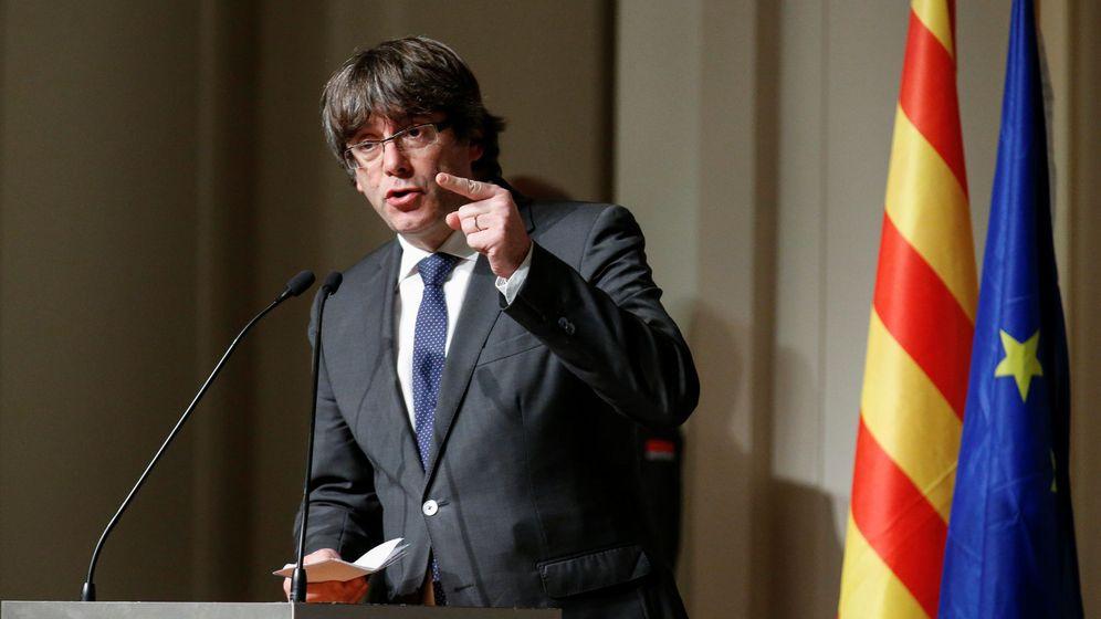 Foto: El 'expresident' catalán, Carles Puigdemont, durante el discurso ante los alcaldes en Bruselas, Bélgica. (Reuters)