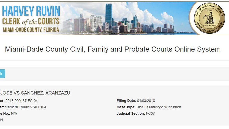 Documento oficial del Juzgado del condado de Miami Dade, EEUU.